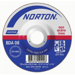 Disco de Corte Metal NORTON BDA08 – 115mm – Centro Deprimido