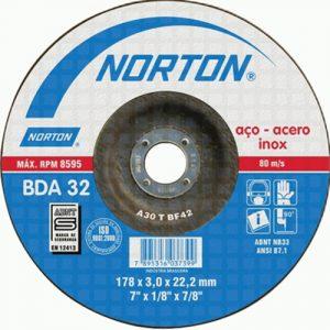 Disco de Corte Metal NORTON BDA32 – 7″ – Centro Deprimido